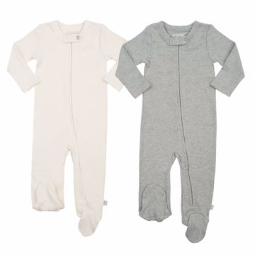 Picture of Finn & Emma 2 Pack Footies - Organic Basics - Ivory & Heather Gray