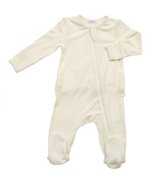 Picture of Angel Dear Basics Ivory Solid Zipper Footie - Bamboo