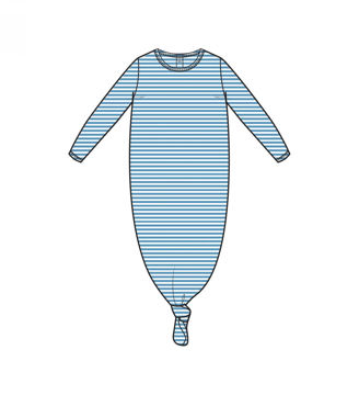 Picture of Angel Dear Basics Blue Stripe Knotted Gown - Bamboo  (0-3Months)