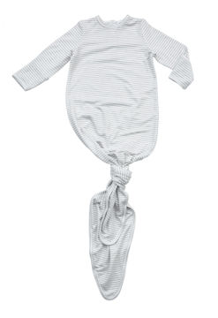 Picture of Angel Dear Basics Grey Stripe Knotted Gown - Bamboo (0-3Months)