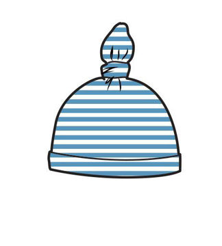 Picture of Angel Dear Basics Blue Stripe Ruffle Knotted Hat - Bamboo (0-3Months)