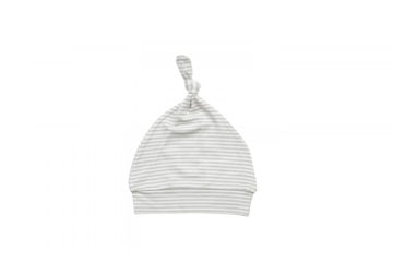 Picture of Angel Dear Basics Grey Stripe Ruffle Knotted Hat - Bamboo (0-3Months)